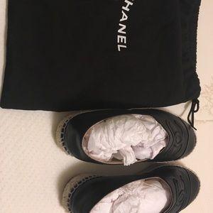 Chanel espadrilles in black lambskin in size 37